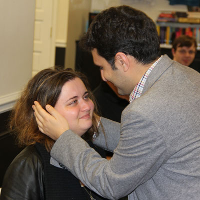 Elshan Moradiabadi embraces Sabina Foisor after she won the 2017 U.S. Women's Championship