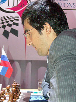 After being ridiculed for uninspiring tournament play and tendency for draws, Vladimir Kramnik's image has been rejuvenated and will forever be known for his stand in this match. Photo by worldchess2006.com.