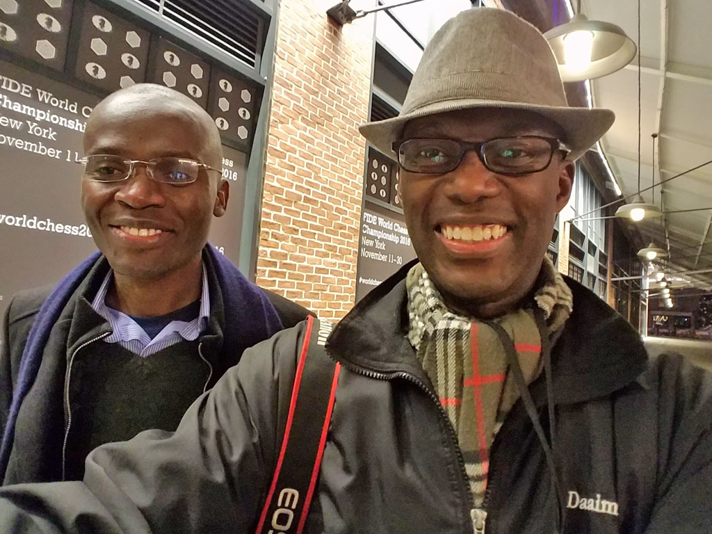 Amon Simutowe and Daaim Shabazz at 2016 World Chess Championship in New York.