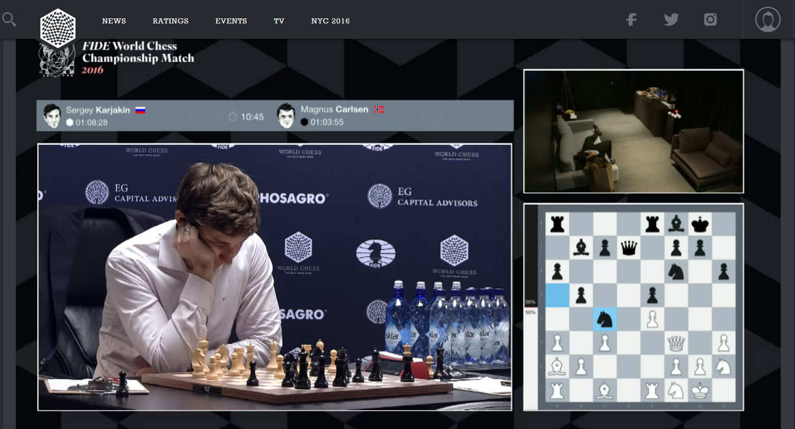 Carlsen ponders move after Karjakin's 17...Nc4