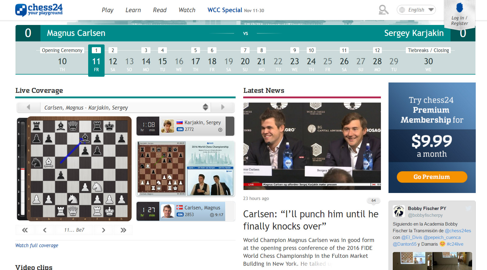 World Chess Championship (Game 1)
