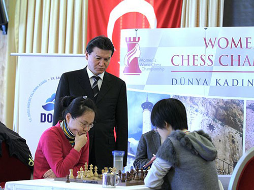 Ruan and Hou battle in tiebreaks with FIDE President Kirsan Ilyumzhinov on hand to crown the new champion.
