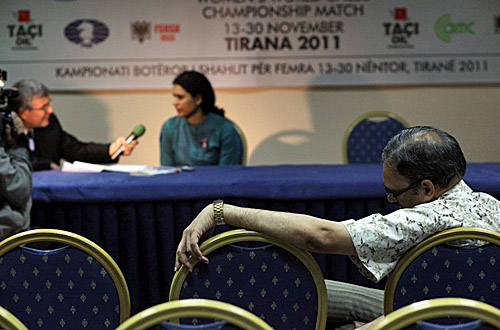 Arshak Koneru sulks after daughter's loss. Photo by Anastasiya Karlovich for FIDE.