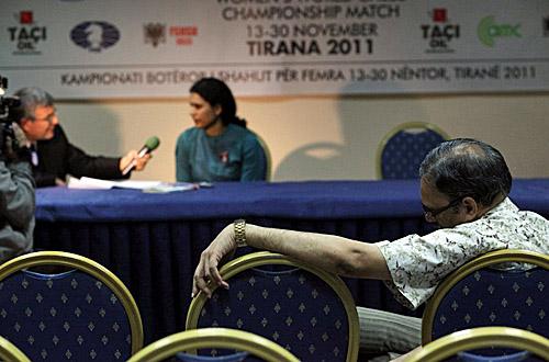 Arshak Koneru sulks after daughter's loss. Photo by Anastasiya Karlovich for FIDE.