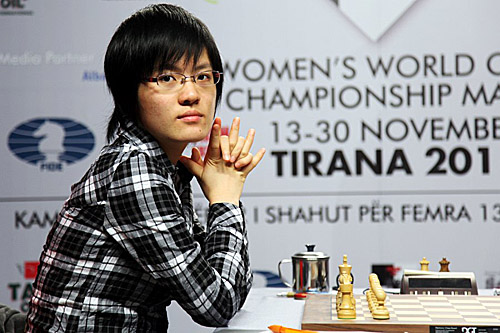 Hou Yifan during her successful title defense last year. Photo by Anastasiya Karlovich for FIDE.