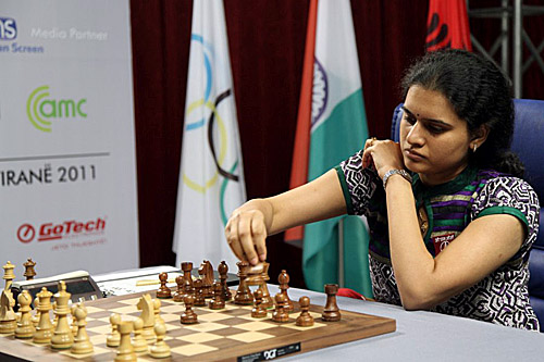Koneru Humpy trots out the Petroff in Game #2. The Indian pressed by could not score the full point. Photo by Anastasiya Karlovich for FIDE.
