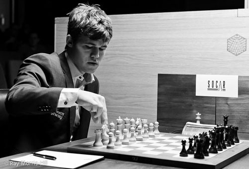 Magnus Carlsen on the march! Photo by Ray Morris-Hill.