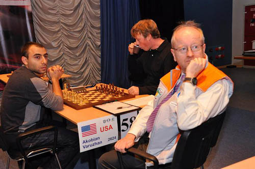 Varuzhan Akobian and Pavel Trebugov would start what would be the marathon match of the round.
