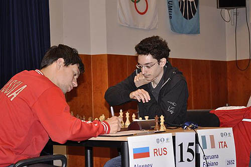 Russia's Evgeny Alekseev squaring off against Fabiano Caruana.