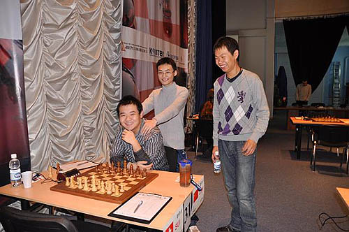 Chinese Dragons, Li Chao, Yu Yangyi and Wang Hao have a lot to smile about.