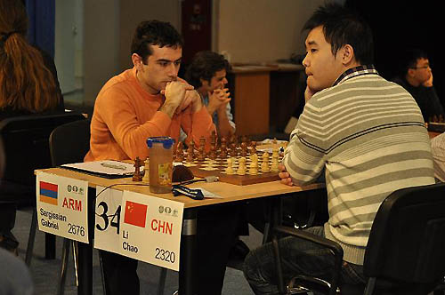 Gabriel Sargissian looks determined, but would be upset by the upstart from China, Li Chao.
