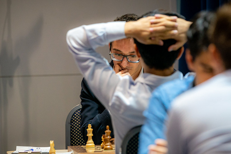 Fabiano Caruana saw chances slipping away. Photo by IM Eric Rosen