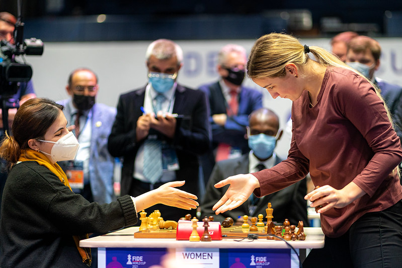 Ana Matnadze in the last seconds of Armageddon against Olga Badelka (Belarus)