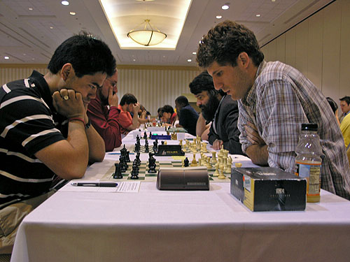 Hikaru Nakamura against IM Robert Hungaski of Poland. Photo by Daaim Shabazz.