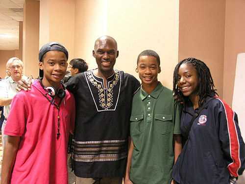 Being able to give talented young players inspiration is extremely important in their chess development. I enjoy writing about the rising stars and giving them a sense of history. Here I'm at the 2010 World Open with Nigel Bryant, Jehron Bryant, Darrian Robinson. Photo by Daaim Shabazz.