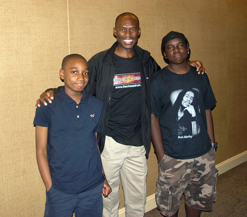 The Chess Drum's Daaim Shabazz with young stars, James Black Jr. and Justus Williams.