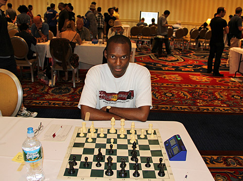 Daaim Shabazz in round nine. I played the Vienna Game for the first time in 10 years and won an interesting game against Michael Chiang. Photo by Daaim Shabazz.
