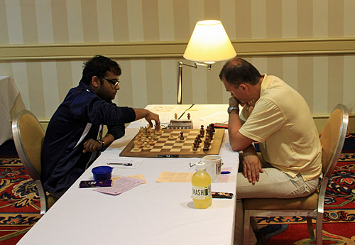GM Abhijeet Gupta (India) - GM Ivan Sokolov (Netherlands), 1/2. Photo by Daaim Shabazz.