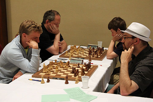 GM Viktor Laznicka vs. GM Josh Friedel, GM Ilya Smirin  vs. FM Razvan Preotu. Photo by Daaim Shabazz.