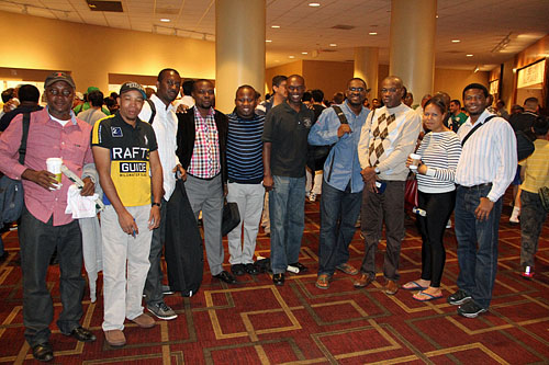 Nigerians & two friends: (L-R) Charles Campbell, Iyobebe Owolo Hanson, Precious Acheru, Efemuai Odafe Benedict, Uche Agu, Daaim Shabazz, Lolomari E. George, Robert Asibor, Vanita Young and Paul Obiwame. Photo by Daaim Shabazz.