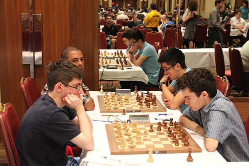 FM Michael Bodek (USA) vs. GM Illia Nyzhnyk (Ukraine) and Isan Ortiz Suarez (Cuba) vs. IM Richard Wang (Canada) Photo by Daaim Shabazz.