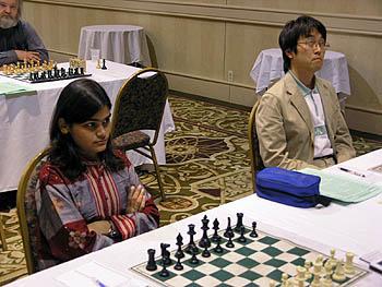 Nisha Mohota and shogi champion Yoshiru Habu. Copyright © 2006, Daaim Shabazz.