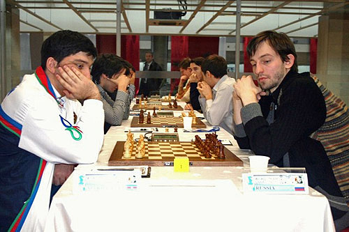 The marquee match of the round... Azerbaijan vs. Russia takes center stage. Gashimov and Grischuk play an epic battle!