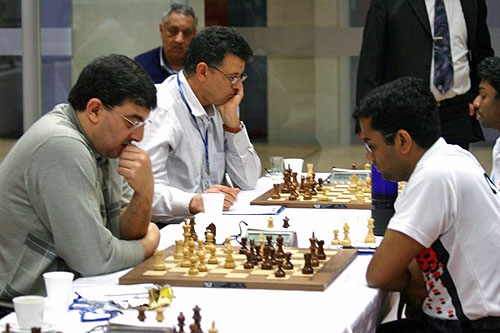 The ill-fated game for Egypt. Abdel-Razik (left) fails to hold in R+B vs R ending against Gopal.