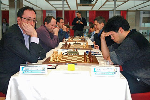 Israel's Boris Gelfand faces off against Hikaru Nakamura in the matchup between two chess superpowers.
