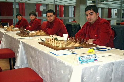 Team Turkey: (L-R) IM Baris Esen, IM Mustafa Yilmaz, IM Mert Erdogdu, GM Kivanc Haznedaroglu